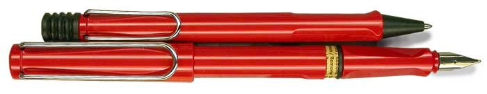 Lamy Safari Red Fountain Pen and Ballpen Set